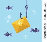 email envelope on fishing hook...   Shutterstock .eps vector #1089881363