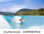teenager boy surfing on... | Shutterstock . vector #1089884963