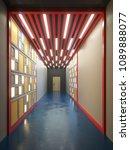 hallway interior with lamella... | Shutterstock . vector #1089888077