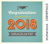 2018 graduation card or banner... | Shutterstock .eps vector #1089895613