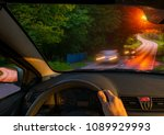 driver behind the wheel driving ... | Shutterstock . vector #1089929993