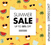 summer sale card design with... | Shutterstock .eps vector #1090011347