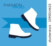 white boots on blue background | Shutterstock .eps vector #1090014623