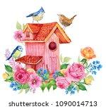 Birdhouse Birds And Flowers....