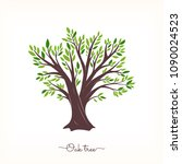 nature. vector silhouette oak... | Shutterstock .eps vector #1090024523
