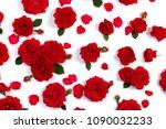 red roses on white background  | Shutterstock . vector #1090032233