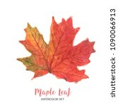 leaves watercolor maple fall... | Shutterstock . vector #1090066913