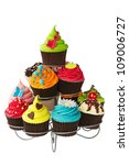 colorful cupcakes on a cakestand | Shutterstock . vector #109006727
