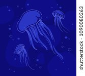 sketch of jellyfishes with a... | Shutterstock .eps vector #1090080263