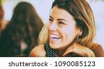 young beautiful woman smiling   Shutterstock . vector #1090085123