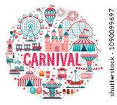 amusement park concept  circus  ... | Shutterstock .eps vector #1090099697