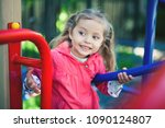 image of happy little girl at... | Shutterstock . vector #1090124807