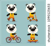 set of isolated funny panda... | Shutterstock .eps vector #1090125653