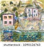 summer mediterranean bay...   Shutterstock . vector #1090126763