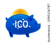 pig money box icon with falling ... | Shutterstock .eps vector #1090126787