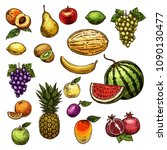fruits sketch isolated icons of ... | Shutterstock .eps vector #1090130477