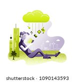 flat  data cloud storage... | Shutterstock .eps vector #1090143593