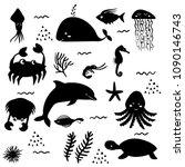 sea life. underwater world.... | Shutterstock .eps vector #1090146743