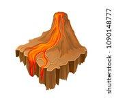 isometric volcano island with...