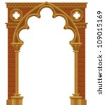 Raster version of vector isolated frame in form of the stone decorated gothic arch - stock photo