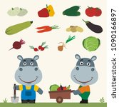 set of isolated vegetables ... | Shutterstock .eps vector #1090166897