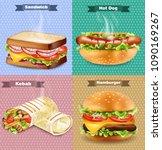 burger  sandwich  hot dog and...   Shutterstock .eps vector #1090169267