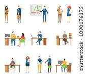 people in the office in various ... | Shutterstock .eps vector #1090176173