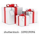 christmas white gift box red ribbon signboard - stock photo