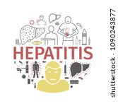 hepatitis line icon... | Shutterstock .eps vector #1090243877