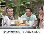 group of happy young muslim... | Shutterstock . vector #1090252373