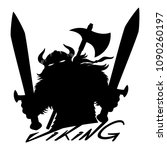 viking sign with swords on... | Shutterstock .eps vector #1090260197