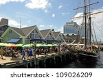 HALIFAX, CANADA - JULY 19: Tens of thousands of people visited the waterfront to partake in the Tall Ships event to see ships such as the Unicorn July 19, 2012, in Halifax, Nova Scotia. - stock photo