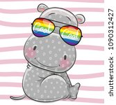 cool cartoon gray hippo with... | Shutterstock .eps vector #1090312427