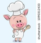 cute caroon pig in a cook hat... | Shutterstock .eps vector #1090312433