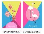 hello summer cards. set of... | Shutterstock .eps vector #1090313453