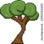 pixel art tree for video retro... | Shutterstock .eps vector #1090352603