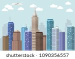 vector flat big city landscape... | Shutterstock .eps vector #1090356557