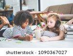 little cute girls studying and...   Shutterstock . vector #1090367027