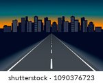 empty direct road to night city ... | Shutterstock . vector #1090376723