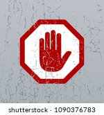stop sign with hand on old... | Shutterstock . vector #1090376783