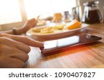 woman using smartphone  close... | Shutterstock . vector #1090407827