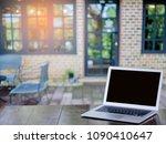 blank screen modern laptop on...   Shutterstock . vector #1090410647