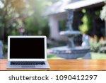 blank screen modern laptop on...   Shutterstock . vector #1090412297