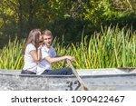 happy young teenage couple  guy ... | Shutterstock . vector #1090422467