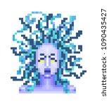 screaming medusa gorgon  greek... | Shutterstock .eps vector #1090435427