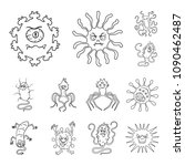 types of funny microbes outline ... | Shutterstock .eps vector #1090462487