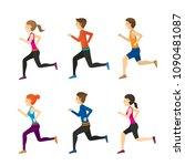 man and woman running set ... | Shutterstock .eps vector #1090481087