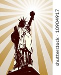 Statue of liberty background (vector, illustration, silhouette) - stock vector