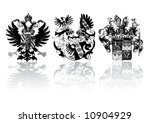 Three historical shields on white with reflection - can be used how background (vector, illustration) - stock vector