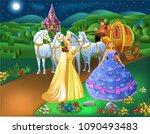 cinderella scene with godmother ... | Shutterstock .eps vector #1090493483